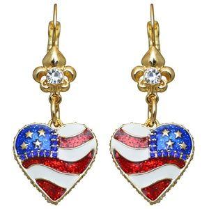 American Heart Flag Leverback Earrings (Goldtone)
